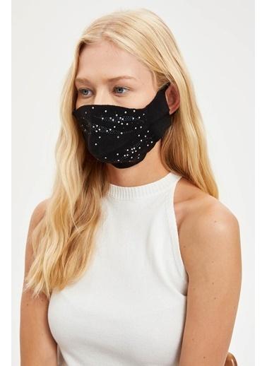 DeFacto Taş İşleme Detaylı Yıkanabilir Maske Siyah